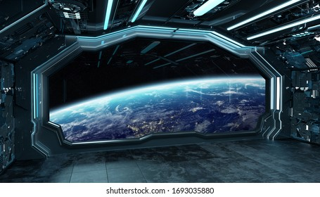 Dark blue spaceship futuristic interior with window view on planet Earth 3d rendering elements of this image furnished by NASA