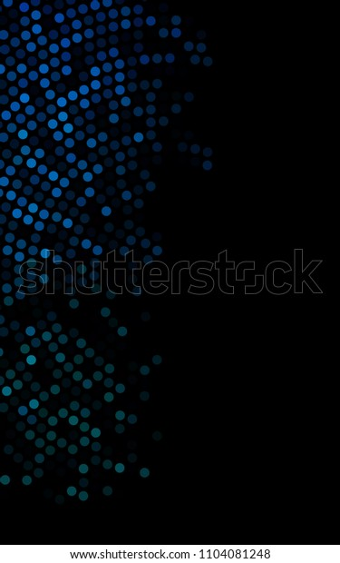 Dark BLUE vertical banner with circles, spheres. Abstract spots. Background of Art bubbles in halftone style with colored gradient.