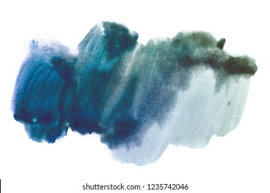 dark blue watercolor stain DIY hand drawn. on white background isolated
