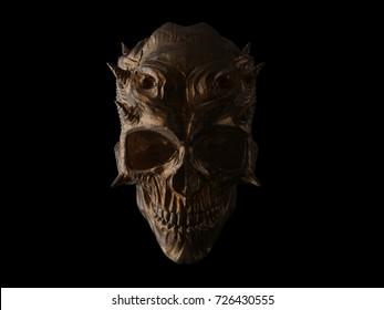 Dark bronze horned demon skull - 3D Illustration