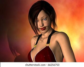 dark brown hair girl in red dress