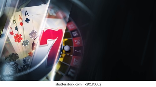 Dark Casino Banner Background with Conceptual 3D Rendered Casino Games Elements Like Slot Machine, Roulette Wheel, Poker Blackjack Cards and the Chips. Right Side Copy Space.