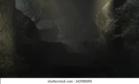 Dark cave 3d realistic render, texture background.