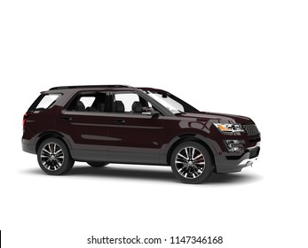 Dark chocolate brown modern SUV - side view - 3D Illustration