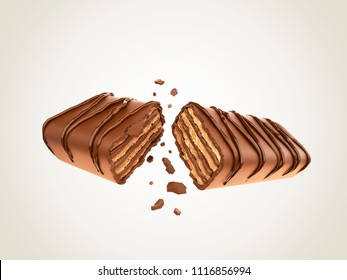 Dark chocolate coated on Crispy wafer, Design for Packaging Concept, with Clipping path 3d illustration.