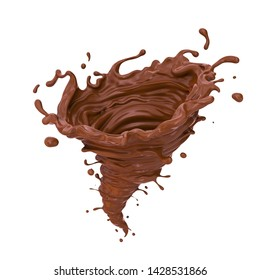 Dark Chocolate tornado or Twister shape Splash, 3d illustration.