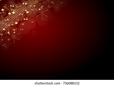 Dark christmas background decorated with golden music notes