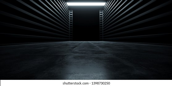 Dark Cinematic Futuristic Modern Garage Showroom Tunnel Corridor Concrete Metal Grunge Reflective Glossy Empty Space White Glow Showcase Stage Underground Hallway Entrance 3D Rendering Illustration
