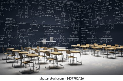 Dark classroom interior with furniture and mathematical formulas on wall. Math and complex algorithm concept. 3D Rendering