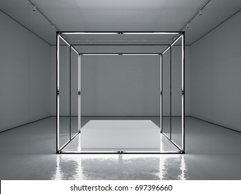 Dark clean gallery with empty modern showcase. 3d rendering