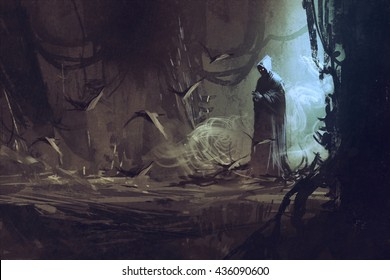 dark cloak in mysterious forest,wizard,sorcerer,illustration