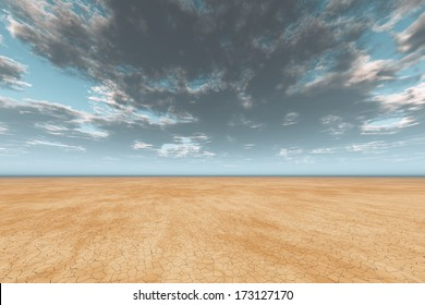 dark clouds in sky over cracked desert earth