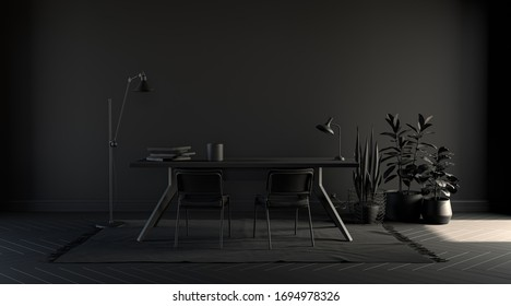 Dark color office, poster background with empty wall, sofa, chair, plant, carpet and curtain in  monochrome black color, 3d rendering for picture frames.