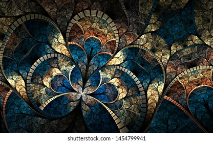 Dark and colorful fractal flower or butterfly, digital artwork for creative graphic design