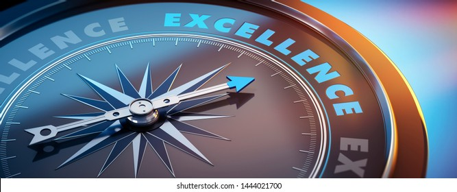 Dark compass with needle pointing to the word excellence - 3D illustration