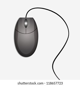 Dark computer mouse isolated on white background