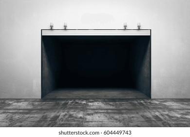 Dark concrete garage with open door. Mock up, 3D Rendering