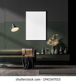 Dark contemporary waiting room interior with green couch and sideboard on concrete floor and framed poster on the wall in the background. Modern scandinavian apartment concept. Mock up. 3d rendering