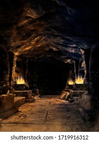 Dark corridor in a fantasy mine with burning torches and rubble on the ground. 3D illustration