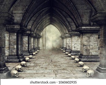 Dark corridor in a gothic castle with human skulls and spider webs. 3D illustration.