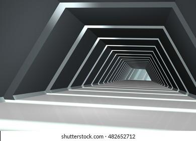 Dark corridor with streaks of light