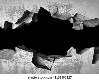 Dark cracked broken hole in concrete wall. Grunge background. 3d render illustration
