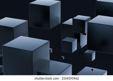Dark cubes randomly distributed in the air, 3d rendering. Computer digital background.