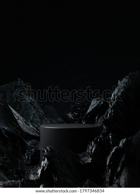 Dark cylinder pedestal for product showcase. Stand product mockup. Black color. Rocks and stones on background and foreground. 3d render illustration