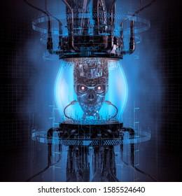 Dark digital thinking machine / 3D illustration of science fiction scene showing metal robot skull inside complex futuristic glass globe computer machinery
