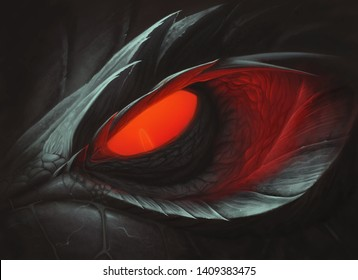 Dark dragon red glowing eye