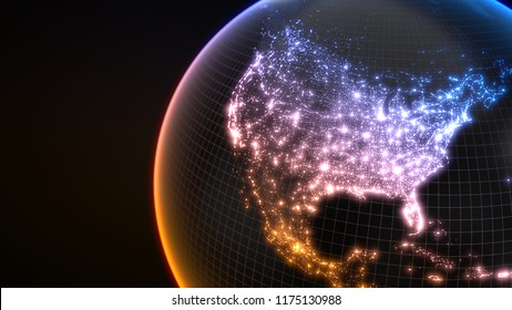 dark earth globe with glowing details of city and human population density areas. wiew of america. suitable for technology, future and science themes. 3d illustration