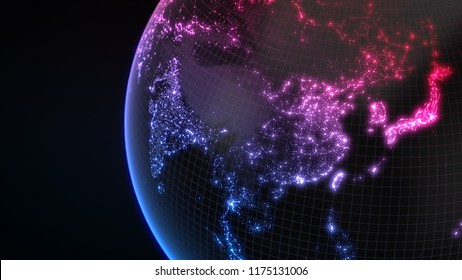 dark earth globe with glowing details of city and human population density areas. wiew of asia. suitable for technology, future and science themes. 3d illustration