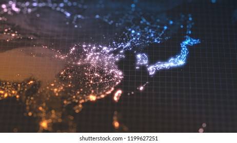 dark earth map with glowing details of city and human population density areas. wiew of asia. suitable for technology, future and science themes. 3d illustration