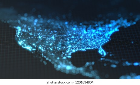 dark earth map with glowing details of city and human population density areas. wiew of america. suitable for technology, future and science themes. 3d illustration
