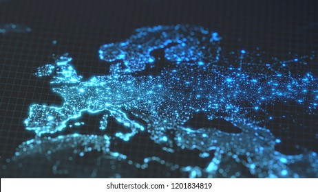 dark earth map with glowing details of city and human population density areas. wiew of europa. suitable for technology, future and science themes. 3d illustration