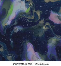 Dark Elegant Canva. Green Space Banner. Grey Stylish Decor. Black Wet Pattern. Yellow Messy Banner. Elegant Pattern. Colorful Drawing Texture.Drawn Image.