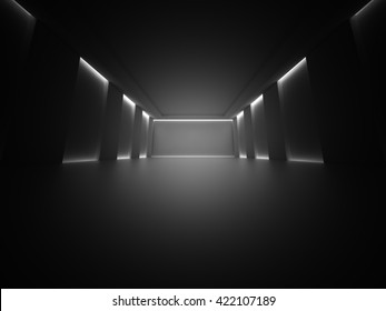 Dark Empty Room Columns Design Background. 3d Render Illustration