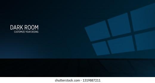 Dark empty room, wooden floor. Abstract Background stock photo in dark blue color.