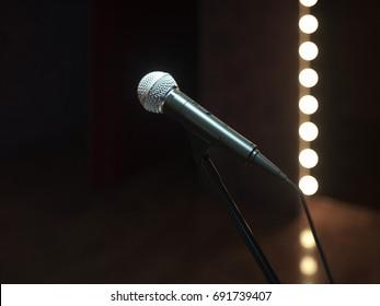 Dark empty stage with microphone. 3d render