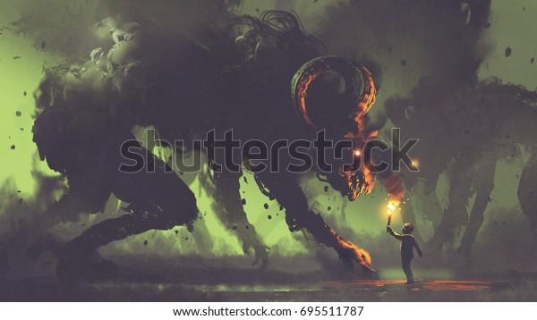düsteres Fantasiekonzept, das den Jungen mit einer Taschenlampe zeigt, die Rauchmonstern mit Dämonenhörern gegenübersteht, digitale Kunststil, Illustrationsmalerei