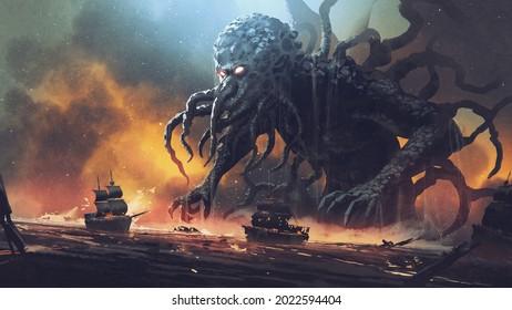 Dark Fantasy-Szene zeigt Cthulhu das riesige Seemonster, das Schiffe zerstört, digitale Kunst, Illustration