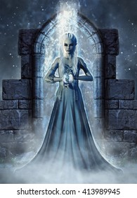 Dark fantasy scenery with an elven sorceress standing in a magic portal. 3D illustration.