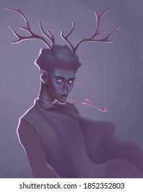 Dark faun boy on purple background