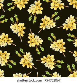 Dark floral seamless pattern with blooming yellow branches Forsythia. Watercolor illustration
