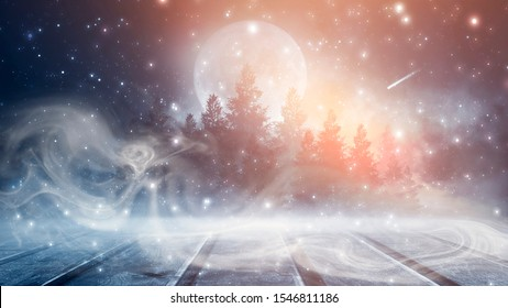 Dark forest. Gloomy dark scene with trees, big moon, moonlight. Smoke, shadow. Abstract dark, cold street background. Night view. Night wooden table. 3D illustration.
