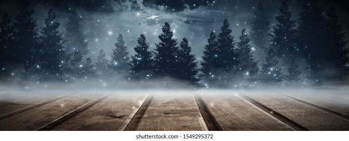 Dark forest. Gloomy dark scene with trees, big moon, moonlight. Smoke, shadow. Abstract dark, cold street background. Night view. Night wooden table. 3D illustration