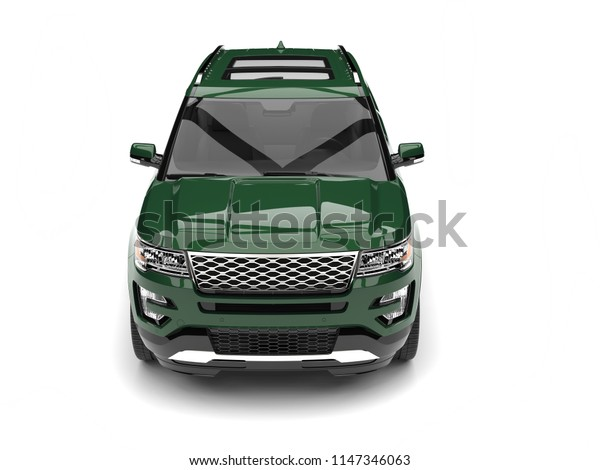Dark forest green modern SUV - front view - 3D Illustration
