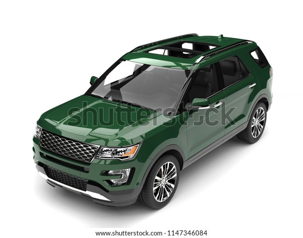 Dark forest green modern SUV - top down view - 3D Illustration