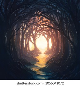 A dark forest leading to a colorful and bright opening. Digital Illustration