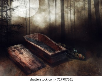 Dark forest with an old wooden coffin and bones lying next to it. 3D illustration.